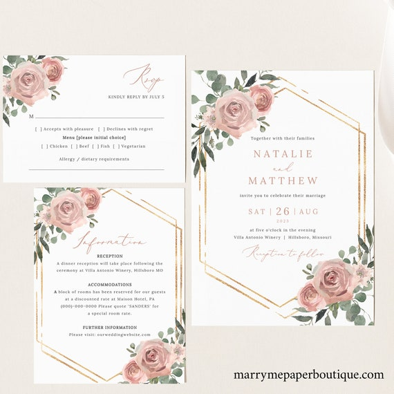 Wedding Invitation Template Set, Dusky Pink Floral, Wedding Invitation Suite, Printable, Fully Editable, Templett INSTANT Download
