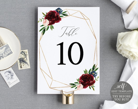 Table Number Sign Template, Burgundy Geometric, Demo Available, Printable Editable Instant Download