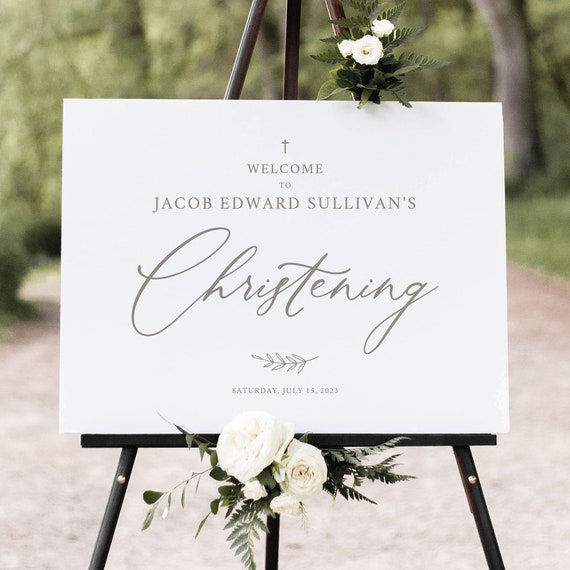 Christening Welcome Sign Template, Elegant Font, Elegant Christening Sign, Printable, Templett INSTANT Download, Fully Editable
