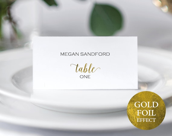 Faux Gold Wedding Place Card Template, Printable Place Card, Editable Escort Card, Printable Seating Card, PDF Instant Download, MM01-3