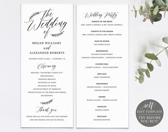 Rustic Wedding Program Template, TRY BEFORE You Buy, Editable & Printable Instant Download, Templett