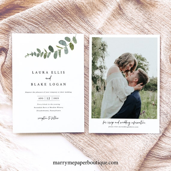 Wedding Invitation Template, Eucalyptus Greenery, Simple Wedding Invitation, Printable, Editable, Templett INSTANT Download, Double Sided