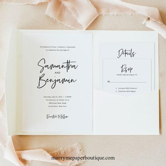 Minimalist Wedding Invitation Template Set, Pocket Fold, Modern Calligraphy, Editable Invite Set, Printable, Templett INSTANT Download