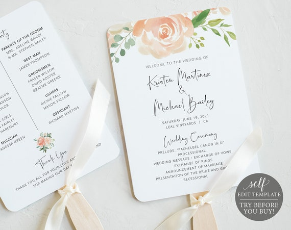 Wedding Program Fan Template, Editable Instant Download, TRY BEFORE You BUY, Peach Floral