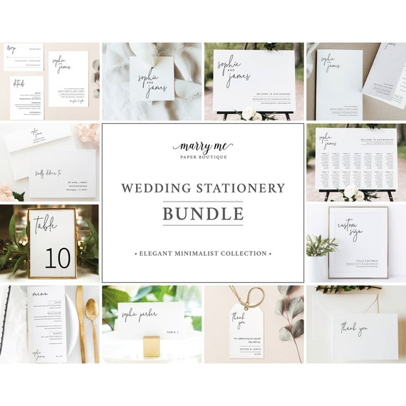 Wedding Bundle Templates, Elegant Minimalist, Wedding Invitation Suite Template Bundle, Templett Instant Download