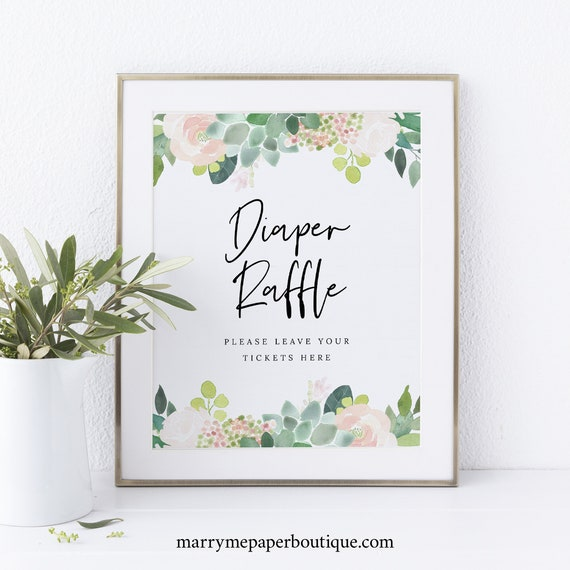 Diaper Raffle Sign and Ticket Template, Succulent Floral, Greenery, Baby Shower Sign, Printable, Editable, Templett INSTANT Download