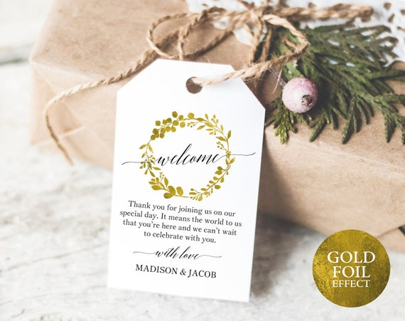 Faux Gold Wedding Welcome Tag Template, Printable Wedding Tag, Wedding Favor Tags, Printable Favor Tags, PDF Instant Download, MM07-3