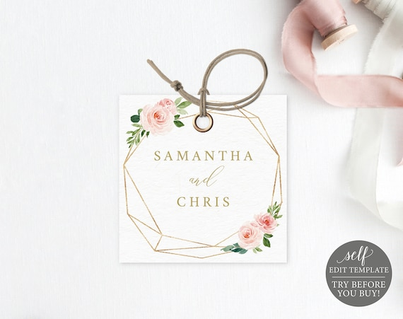 Monogram Tag Template, Blush Floral Geomteric, Editable Instant Download, TRY BEFORE You BUY