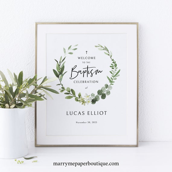 Small Baptism Welcome Sign Template, Elegant Greenery, 8x10 Baptism Table Sign, Printable, Templett INSTANT Download, Editable