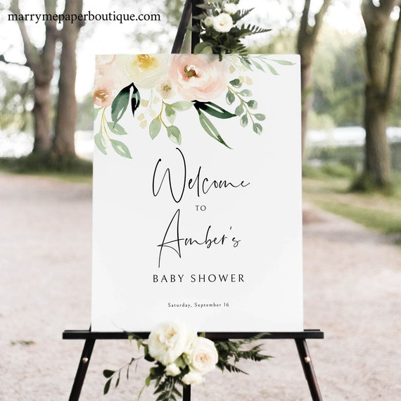 Baby Shower Welcome Sign Template, Try Before Purchase, Pink Floral Greenery Ivory, Printable Sign, Templett Instant Download