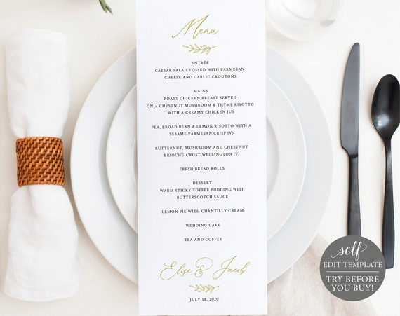 Wedding Menu Template, TRY BEFORE You BUY, Menu Card Printable, Instant Download, 100% Editable Wedding Dinner Menus, Elegant Calligraphy