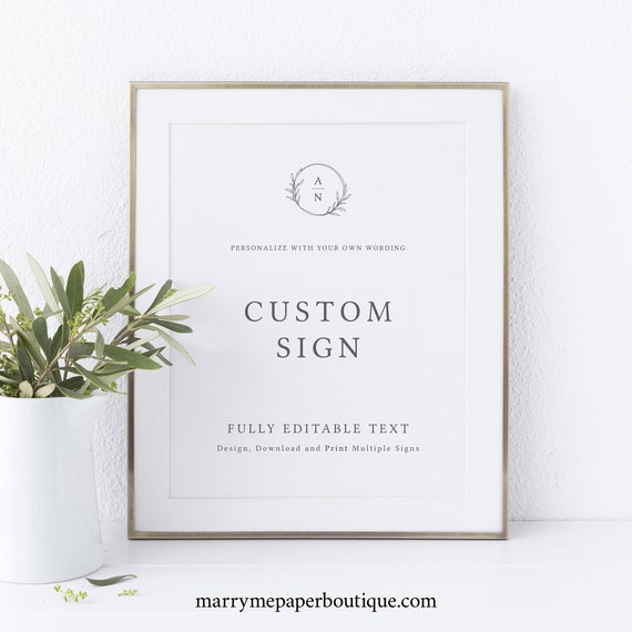 Wedding Sign Bundle Templates, Create Multiple Signs, Try Before Purchase, Templett Instant Download, Circle Monogram Design