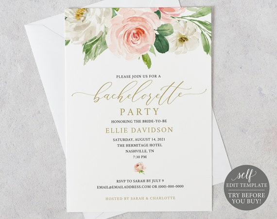 Bachelorette Party Invite Template, Blush Floral, Editable Instant Download, TRY BEFORE You BUY