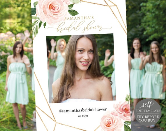 Bridal Shower Photo Booth Frame Template, TRY BEFORE You BUY, Editable Instant Download, Floral Geometric