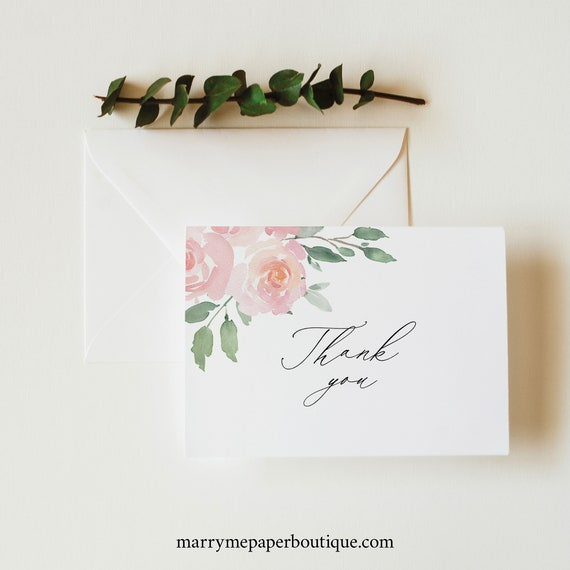 Thank You Card Template, Folded, Elegant Blush Floral, Try Before Purchase, Editable & Printable, Instant Download