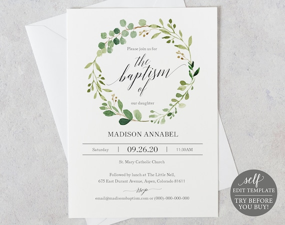 Baptism Invitation Template, Greenery, Editable Instant Download, TRY BEFORE You BUY