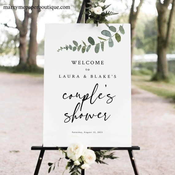Couples Shower Welcome Sign Template, Eucalyptus Greenery, Shower Welcome Sign, Poster, Printable, Editable, Templett INSTANT Download