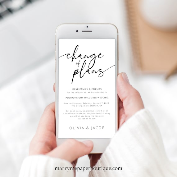 Change of Plans Text Template, Calligraphy, Postponed Wedding, Bridal Shower, Baby Shower, Fully Editable, Templett Instant Download