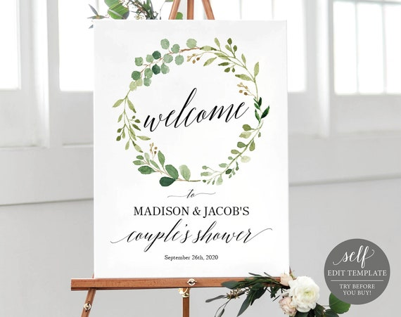 Couples Shower Welcome Sign Template, TRY BEFORE You BUY, Printable Couples Shower Poster, Instant Download, 100% Editable, Greenery Style