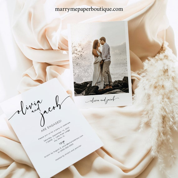 Engagement Announcement Photo Card Template, Modern Calligraphy, Engagement Party Invitation Card Printable, Templett INSTANT Download