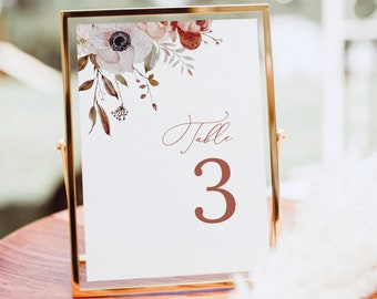 Table Number Template, Fall Floral, Elegant Table Number Sign, Printable, Editable, Fall Wedding, Templett INSTANT Download