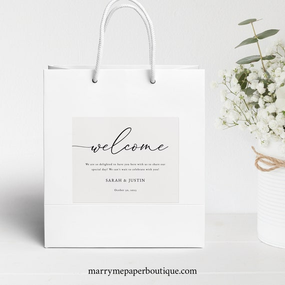 Classic Welcome Bag Label Template, Elegant Wedding, Hotel Guest Bag Label, Printable, Templett, INSTANT Download, Fully Editable