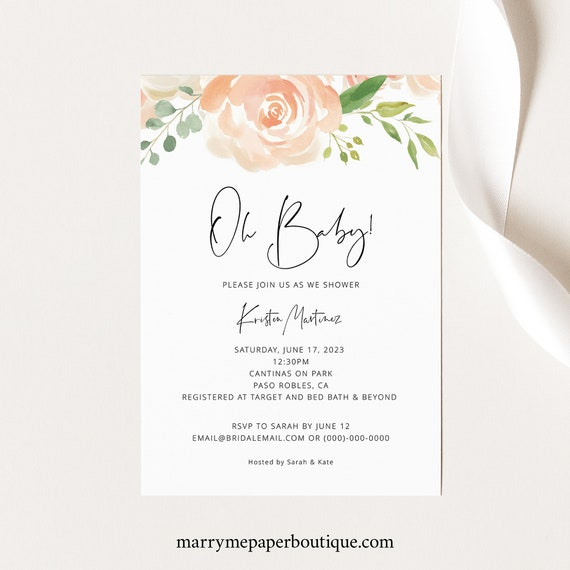 Baby Shower Invitation Template, Peach Floral, TRY BEFORE You BUY, Editable Instant Download