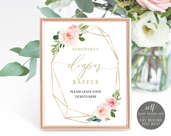 Diaper Raffle Sign Template, Raffle Ticket Printable, 100% Editable, Instant Download, Baby Shower Games, Blush & Gold, TRY BEFORE You BUY