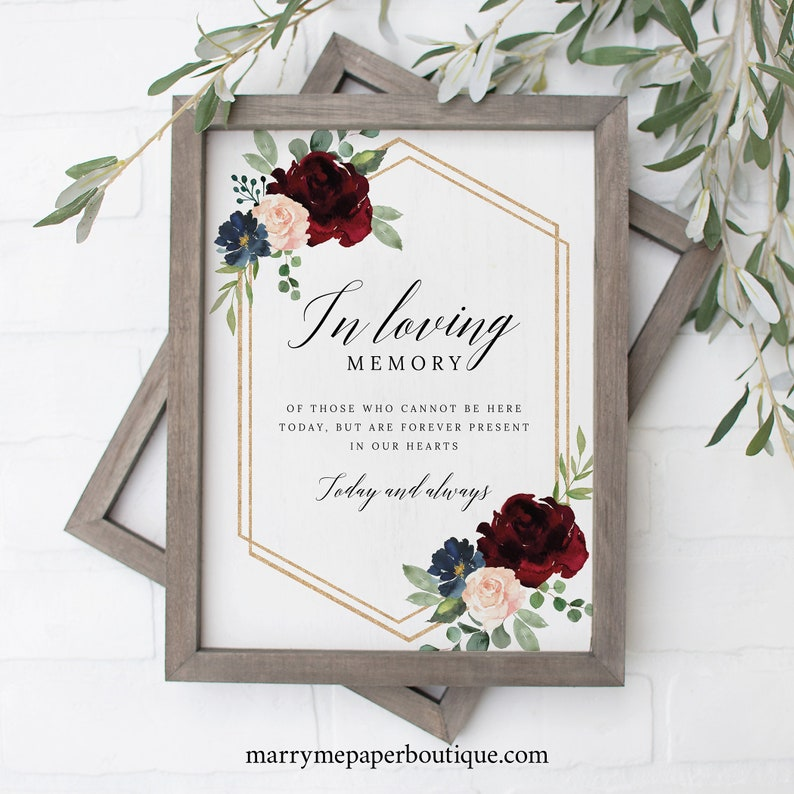 Burgundy Navy Non-Editable Instant Download In Loving Memory Sign Template