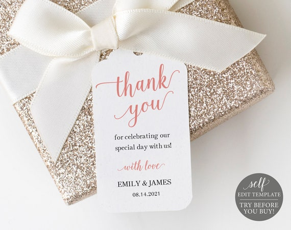 Favor Tag Template, TRY BEFORE You BUY, Rose Gold Script, 100% Editable Instant Download