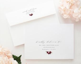 Wedding Envelope Address Template, Templett Instant Download, Envelope Address Printable, Try Before Purchase, Burgundy Flowers