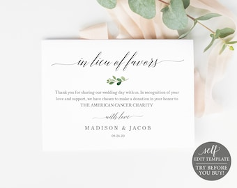 In Lieu of Favors Card Template, Greenery Leaf,  Editable Instant Download, TRY BEFORE You BUY