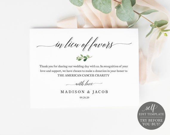 In Lieu of Favors Card Template, Greenery Leaf, 100% Editable Instant Download, TRY BEFORE You BUY