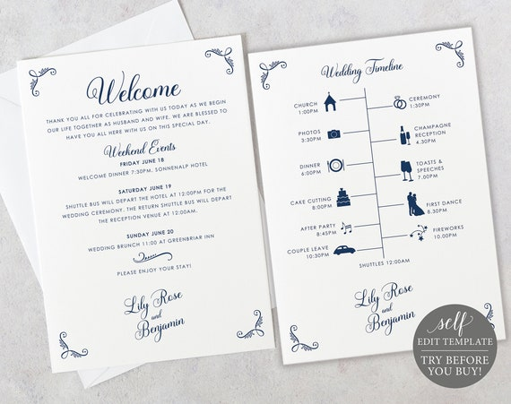 Wedding Itinerary Card Template, Rustic Navy, Editable Printable Instant Download, TRY BEFORE You Buy, Templett