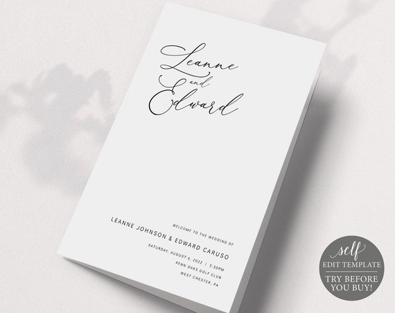 Wedding Program Template Folded, Editable & Printable Instant Download, Templett, Minimalist Portrait