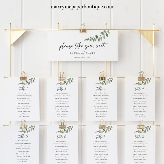 Eucalyptus Seating Chart Cards Template, Greenery Seating Cards, Printable, Templett, Editable, INSTANT Download