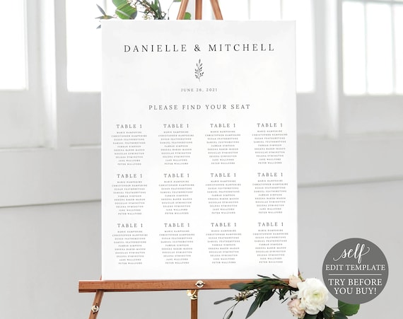 Wedding Seating Chart Template, Self Edit Instant Download, TRY BEFORE You BUY, Formal Botanical