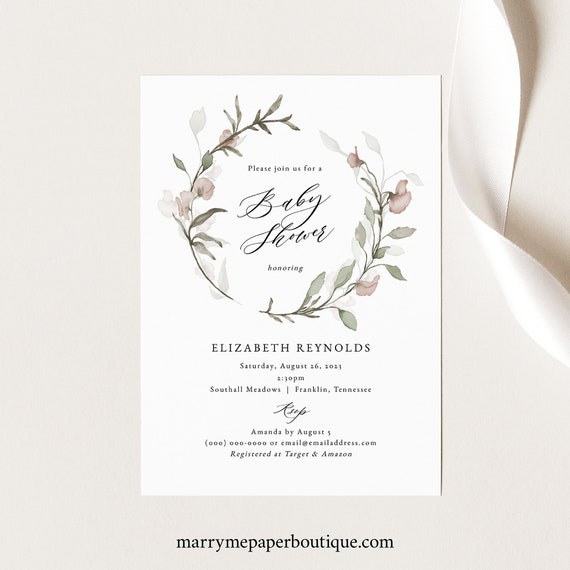 Blush Floral Baby Shower Invitation Template, Greenery, Baby Shower Invite, Printable, Templett INSTANT Download, Editable