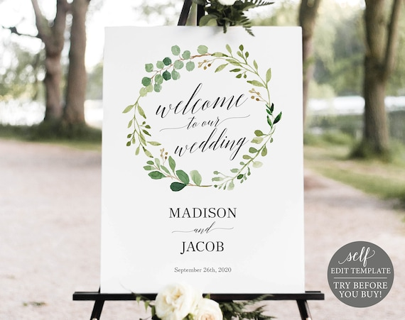 Wedding Welcome Sign Template, Greenery, TRY BEFORE You BUY, Editable Instant Download