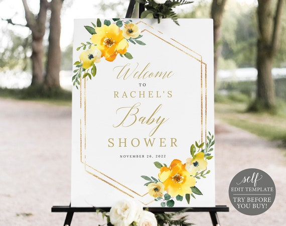 Baby Shower Welcome Sign Template, Yellow Floral, Demo Available, Editable & Printable Instant Download
