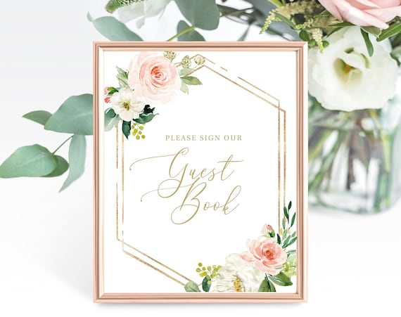 Guest Book Sign Template, Non-Editable Instant Download, Blush Floral Hexagon