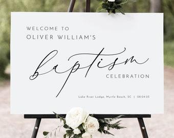 Baptism Welcome Sign Template, Luxury Calligraphy, Elegant Baptism Sign, Printable, Editable, Large Baptism Sign, Templett INSTANT Download