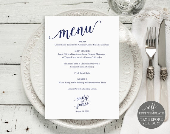 Wedding Menu Template, Wedding Menu Printable, Navy Menu Card, DIY Menu Template, Instant Download, Dinner Menu, Menu Printable