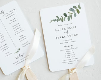 Wedding Program Fan Template, Eucalyptus, Try Before Purchase, Greenery Wedding Fan Program Printable, Templett Instant Download