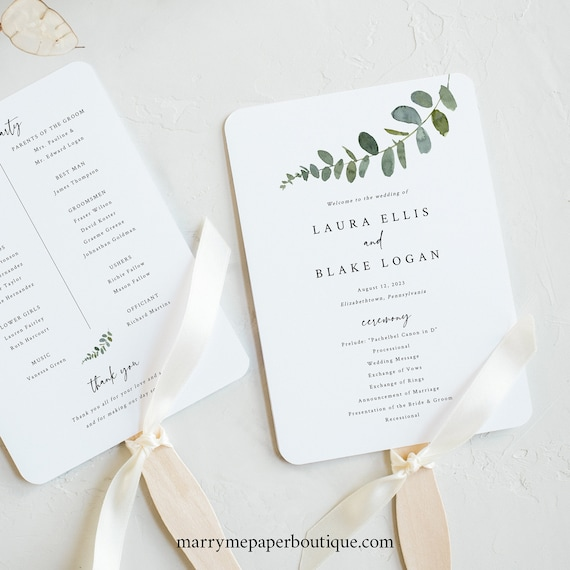 Wedding Program Fan Template, Eucalyptus, Try Before Purchase, Greenery Wedding Fan Program Printable, Templett Instant Download