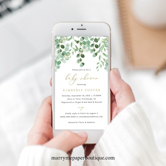 Baby Shower Text Invitation Template, Garden Greenery, Electronic Shower Text Invite, Templett Editable, Instant Download