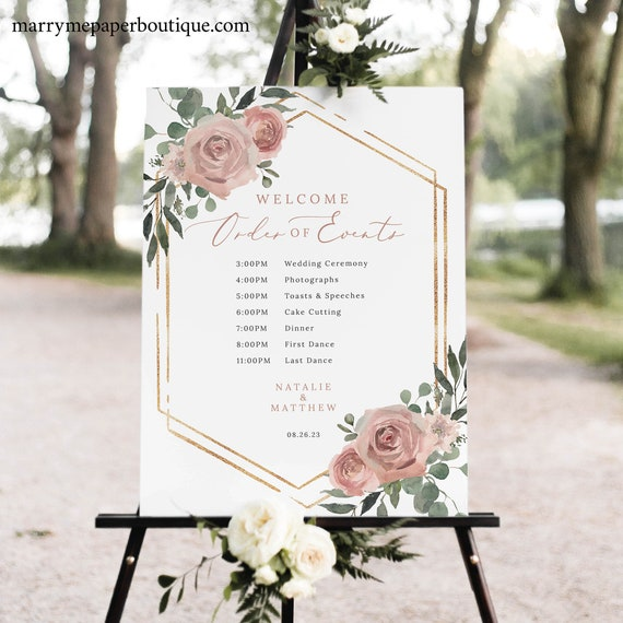 Wedding Timeline Sign Template, Dusky Pink Floral, Boho Wedding Itinerary Sign, Printable Order of Events Sign, Templett INSTANT Download
