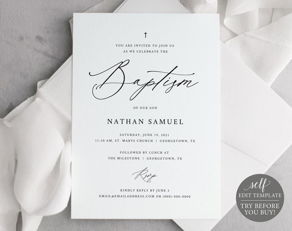 Baptism Invitation Template, Stylish Script, FREE Demo Available, Editable Instant Download
