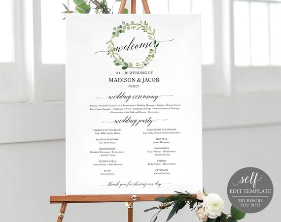 Program Sign Template, Greenery Wreath, TRY BEFORE You BUY,  Editable Instant Download