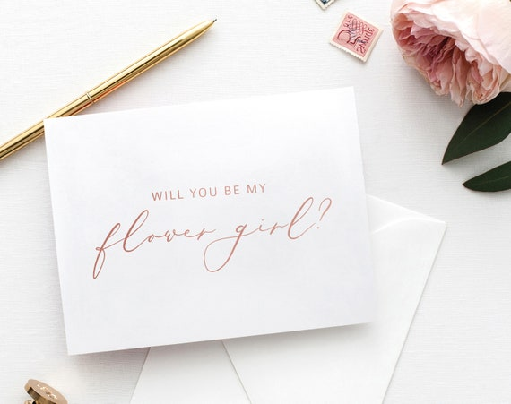 Will You Be My Flower Girl Card, Printable Flower Girl Card Template, Card to Flower Girl Template, Rose Gold, PDF Instant Download MM08-2